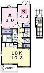 ロイヤルパークI[2階]の間取り