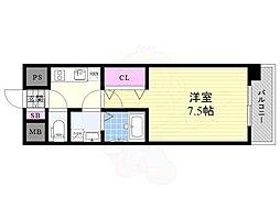 おおさか東線 JR淡路駅 徒歩3分の賃貸マンション 7階1Kの間取り