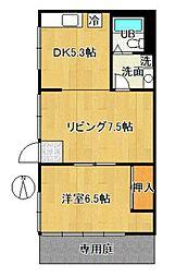 東京都新宿区舟町の賃貸アパートの間取り