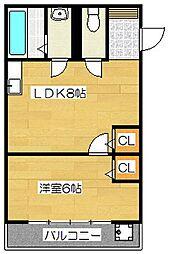 五条駅前萩尾ビル[302号室]の間取り