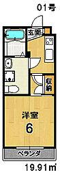 THE GARNET SUITE RESIDENCE 深草 1階1Kの間取り