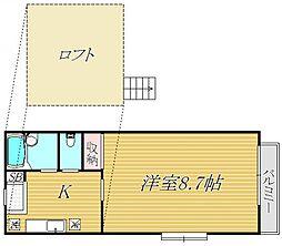 神奈川県川崎市多摩区寺尾台1丁目の賃貸アパートの間取り