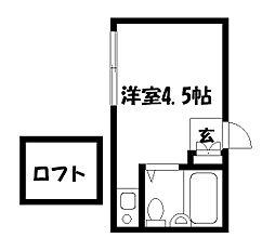 東京都国立市北の賃貸アパートの間取り