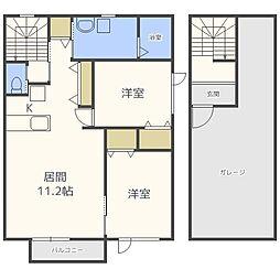 北海道札幌市豊平区中の島一条9丁目の賃貸アパートの間取り