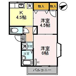ピュアハイムII 2階2DKの間取り