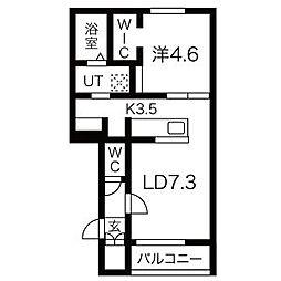 JR学園都市線 あいの里教育大駅 徒歩1分の賃貸アパート 3階1LDKの間取り