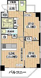 メゾン ハギIII 4階2LDKの間取り
