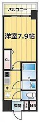 JR大阪環状線 森ノ宮駅 徒歩7分の賃貸マンション 8階1Kの間取り