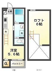 千葉県八千代市八千代台西9丁目の賃貸アパートの間取り