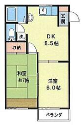 神奈川県大和市南林間8丁目の賃貸アパートの間取り