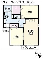 セジュールAMANO[1階]の間取り