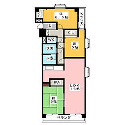 ラビデンス伏屋[1階]の間取り