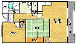 大阪府茨木市新堂2丁目の賃貸マンションの間取り