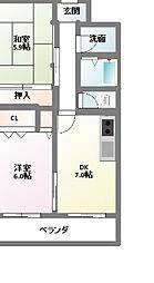 愛知県名古屋市名東区香流3丁目の賃貸マンションの間取り