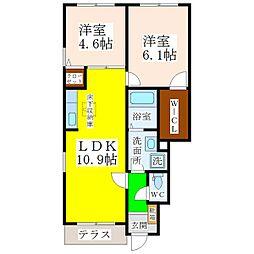 福岡県八女市吉田の賃貸アパートの間取り