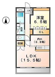 愛知県北名古屋市久地野戌亥の賃貸マンションの間取り