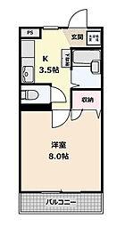 岩戸北高根マンション[3階]の間取り