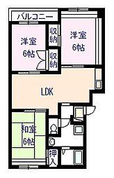 ライズィングマンションB[305号室]の間取り