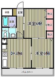 ロングエイト2[4階]の間取り