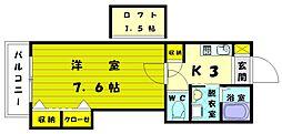 ビレッジボヌール 弐[2階]の間取り