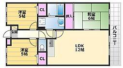 ラピート初芝 2階3LDKの間取り
