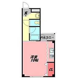 カサ・アレグレ 3階ワンルームの間取り