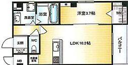 Osaka Metro千日前線 北巽駅 徒歩15分の賃貸マンション 8階1LDKの間取り