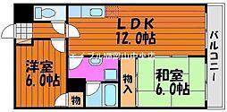 岡山県岡山市北区東古松5丁目の賃貸マンションの間取り