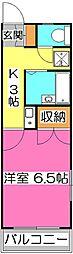 埼玉県所沢市若狭3丁目の賃貸アパートの間取り
