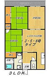 大阪府東大阪市南荘町の賃貸マンションの間取り