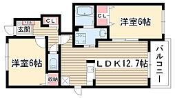 愛知県名古屋市名東区猪高町大字高針字荒田の賃貸アパートの間取り