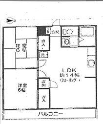 東京都足立区中川4丁目の賃貸マンションの間取り