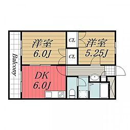 千葉県成田市本城の賃貸マンションの間取り
