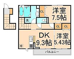 仮)D−room南花畑2丁目[202号室]の間取り