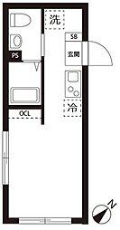 東急目黒線 不動前駅 徒歩7分の賃貸マンション 4階ワンルームの間取り