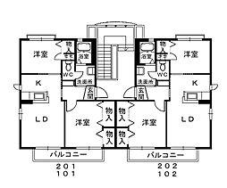 シャーメゾンカーメ[201号室]の間取り