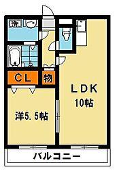 栃木県宇都宮市陽南2丁目の賃貸マンションの間取り
