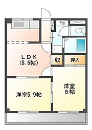 滋賀県東近江市小池町の賃貸アパートの間取り