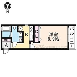 阪急京都本線 西京極駅 徒歩11分の賃貸マンション 3階1Kの間取り