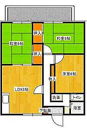 大阪府枚方市星丘2丁目の賃貸アパートの間取り