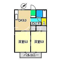 北川ハイツII[1階]の間取り