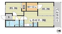 兵庫県姫路市御立中3丁目の賃貸マンションの間取り