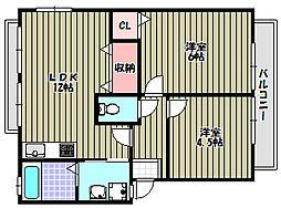 大阪府大阪狭山市東野中2丁目の賃貸アパートの間取り