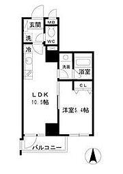 JR総武線 亀戸駅 徒歩12分の賃貸マンション 10階1LDKの間取り