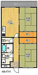 大阪府四條畷市岡山5丁目の賃貸マンションの間取り