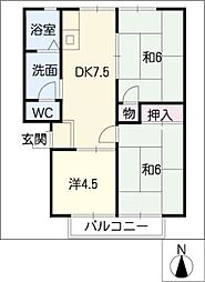 セジュール水野[1階]の間取り