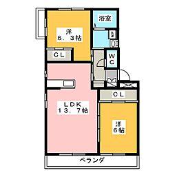 グロワールA棟 2階2LDKの間取り