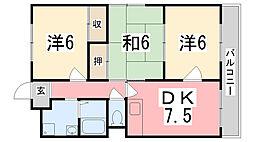 兵庫県姫路市勝原区朝日谷の賃貸マンションの間取り