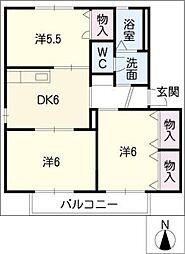 サニーハウス C棟[1階]の間取り