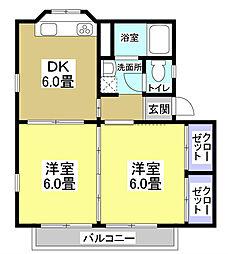 ソレイユC[2階]の間取り